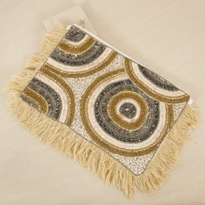 Grecian Beaded Circles Fringe Edge Clutch