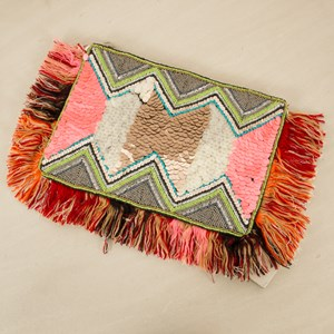 Rio Scale Sequins Fringe Edge Clutch