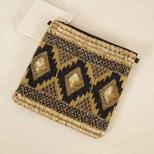 Sequin & Bead Diamonds Square Clutch