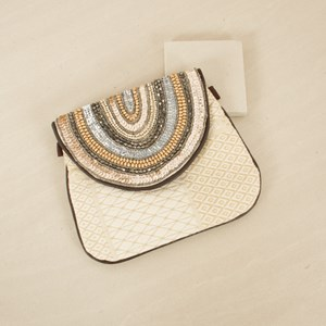 Flapover Beaded Mini Pouch Clutch