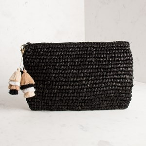 Tahitian Multi Cotton Tassels Raffia Clutch