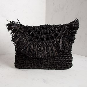 Fan Fringe Cut Out Flap Over Raffia Clutch