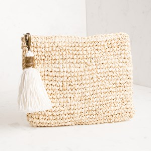 Seed Bead Cotton Tassel Charm Raffia Clutch