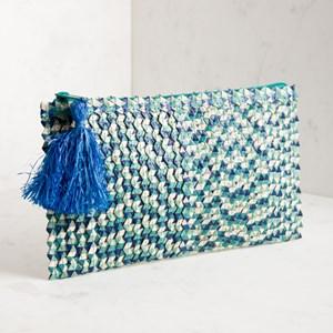 Mixed Weave Raffia Tassel Zip Top Clutch