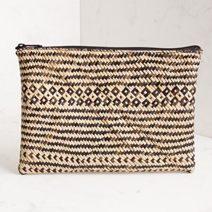 Borneo Woven Zip Top Clutch