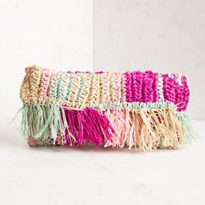 Multi Weave Raffia Fringe Clutch