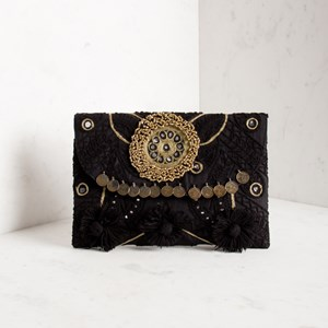 Indian Goddess Pom Pom & Coin Clutch