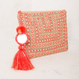 Stitched Boho Mirrors XL Tassel Charm Clutch