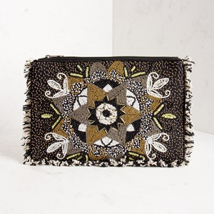 Eastern Star Beaded Fringe Edge Clutch