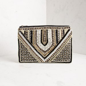 Beaded Armour Zip Top Clutch
