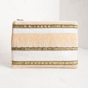 Beaded Stripes Zip Top Clutch