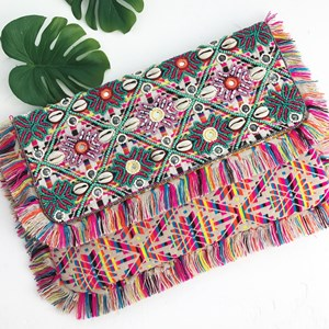 Shell & Beaded Flowers Fringe Fold Over Clutch