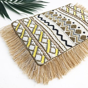 Ray of Sunshine Beaded Fringe Zip Top Clutch