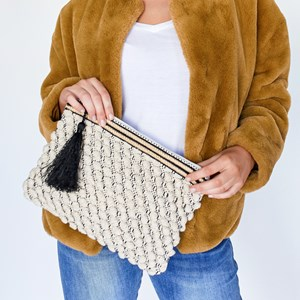 Looped Cotton Metallic Thread Tassel Clutch