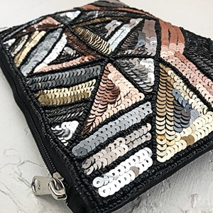 Geo Sequined Zip Top Clutch