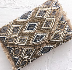 Earth Goddess Diamond Bead & Fringe Clutch