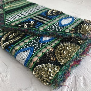 Green with Envy Beaded Clutch