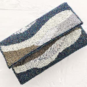 Waves Beaded Fold Over Clutch