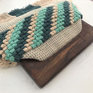 Knotted Panel Fringe Timber Frame Clutch