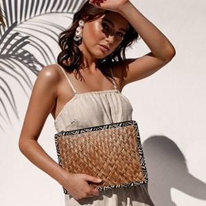 Fabric Edged Basket Weave Clutch