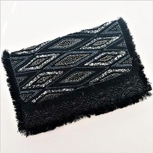 Diamond Panels Flap Over Fringe Clutch