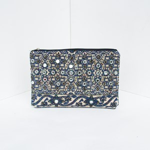 Mirror & Bead Zip Top Clutch