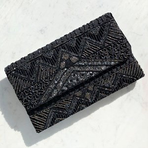 Beaded Sequin Flap Over Clutch