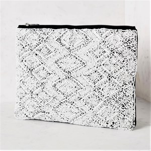 Diamond Pattern Zip Top Clutch