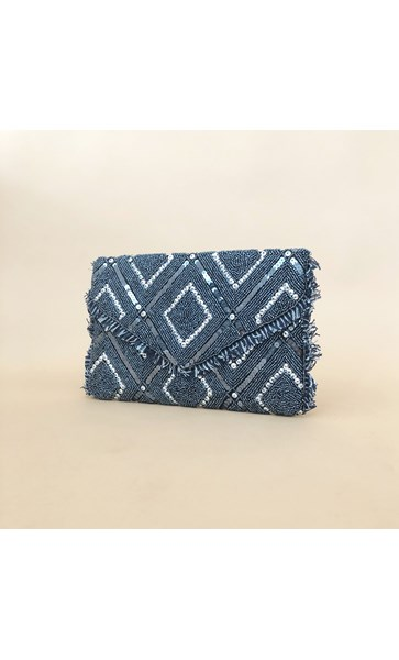 Bead & Sequin Pattern Flap Over Clutch