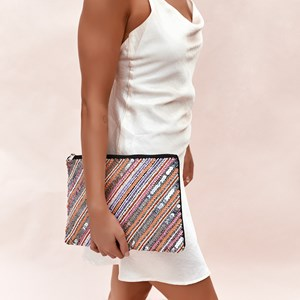 Diagonal Beaded Zip Top Clutch