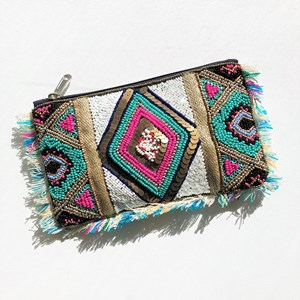 Glam Beaded Fringe Zip Top Pouch
