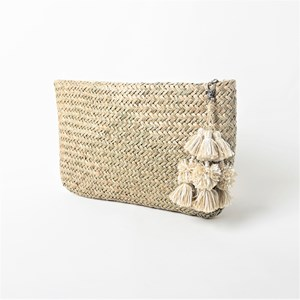 Weave Tassel Zip Top Clutch