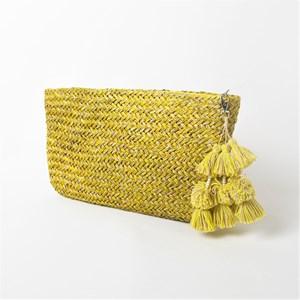 Two Tone Weave Tassel Zip Top Clutch