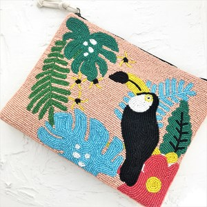 Toucan in Paradise Beaded Canvas Clutch
