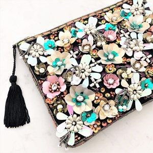 Flower Party 3D Embellished Clutch