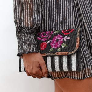 Roses Beaded Striped Flap Over Clutch