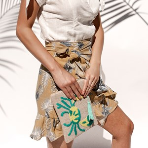 Sand Crab Natural Zip Top Clutch