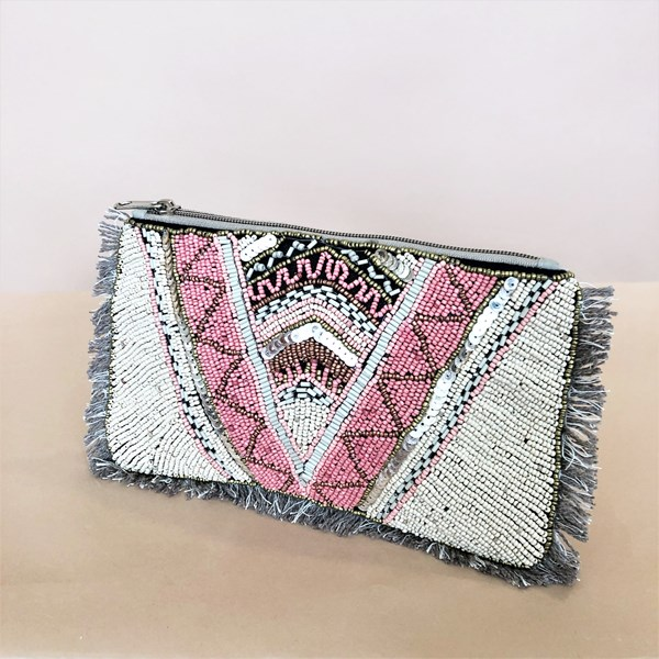 Aztec Beaded Fringe Edge Pouch