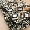 Earthy Mirrors & Beads Fringe Edge Pouch - pr_62302