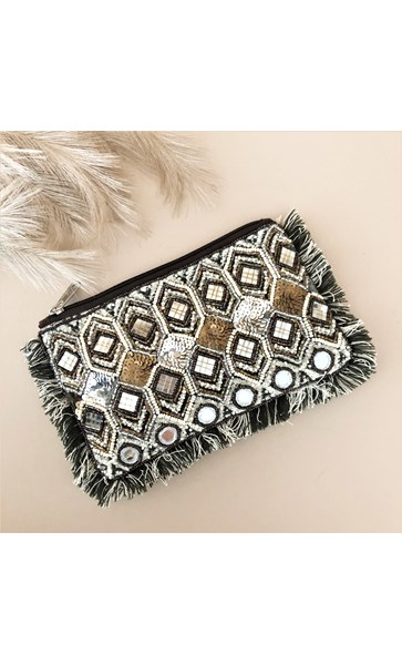 Earthy Mirrors & Beads Fringe Edge Pouch