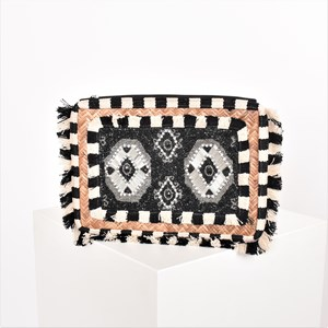 Fringe Edge Beaded Panel Rattan Clutch