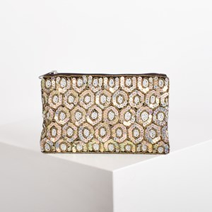 Sequin Hexagons Evening Pouch