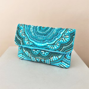 Moroccan Beaded Fold Over Clutch