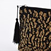Leopard Beaded Tassel Zip Top Clutch - pr_66211