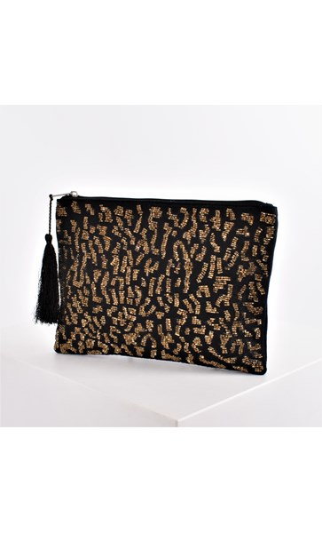 Leopard Beaded Tassel Zip Top Clutch
