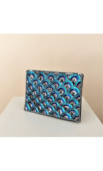 Sequin Scales Fold Over Clutch
