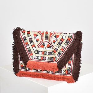 Mexicana Mirrors & Fringe Fold Over Clutch