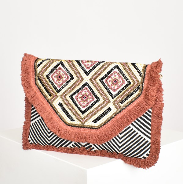 Eastern Bead & Fringe Fold Over Clutch