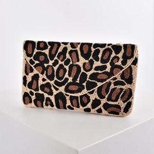 Beaded Leopard Print Envelope Clutch