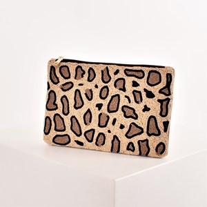 Beaded Leopard Print Zip Top Clutch